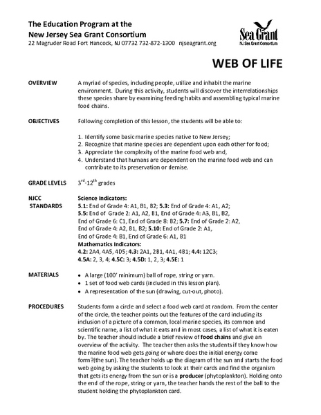 Web of Life - Basic Marine Species Lesson Plan