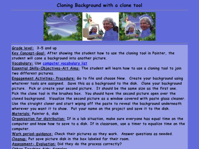 Cloning Background with a clone tool Lesson Plan