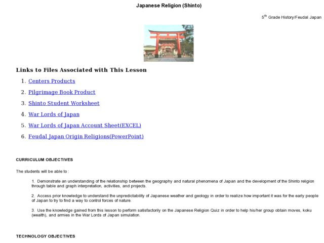 Japanese Religion (Shinto) Lesson Plan