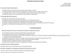 World War Era Research Paper Lesson Plan