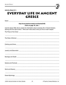 Ancient Greece Worksheet for 6th - 7th Grade | Lesson Planet