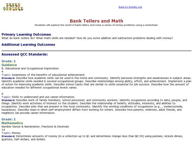 Bank Tellers and Math Lesson Plan