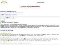 Learning:  Home and School Lesson Plan