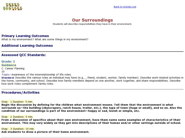 Our Surroundings Lesson Plan