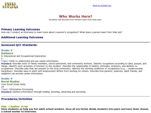 Who Works Here? Lesson Plan