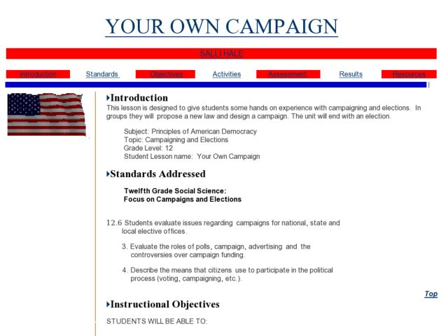 YOUR OWN CAMPAIGN Lesson Plan