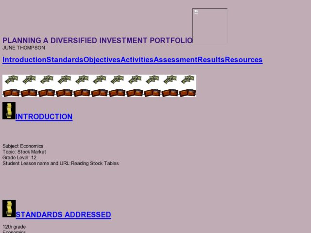 PLANNING A DIVERSIFIED INVESTMENT PORTFOLIO Lesson Plan