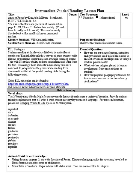 Ancient Rome Lesson Plan For 5th 6th Grade Lesson Planet