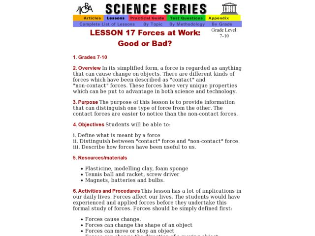 Forces at Work: Good or Bad? Lesson Plan