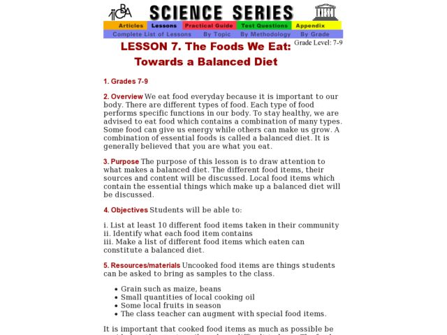 The Foods We Eat: Towards a Balanced Diet Lesson Plan