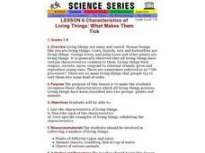 Characteristics of Living Things: What Makes Them Tick Lesson Plan