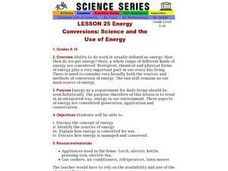 Energy Conversions: Science and the Use of Energy Lesson Plan