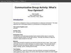 Communicative Group Activity: What's Your Opinion? Lesson Plan
