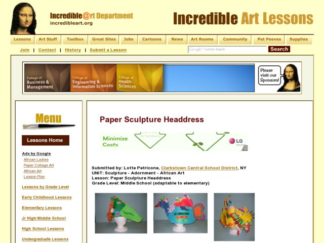 Paper Sculpture Headdress Lesson Plan