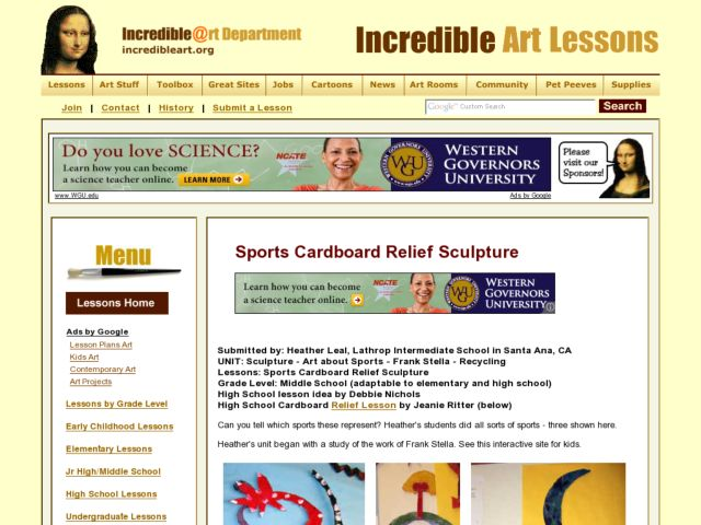 Sports Cardboard Relief Sculpture Lesson Plan