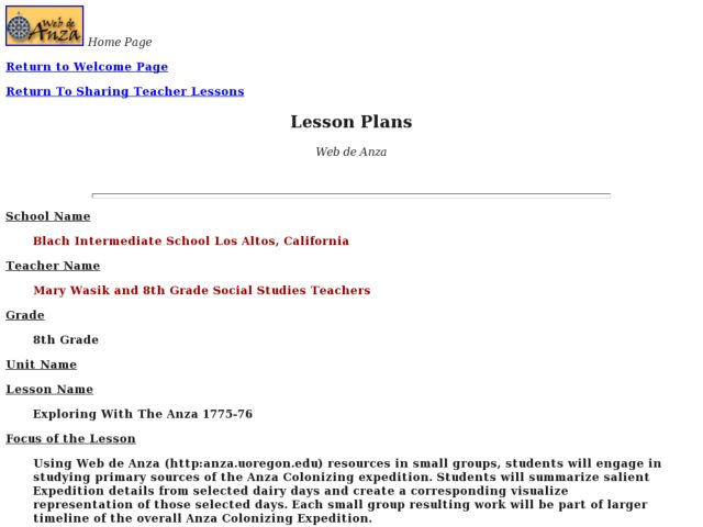 Exploring With the Anza 1775-1776 Lesson Plan