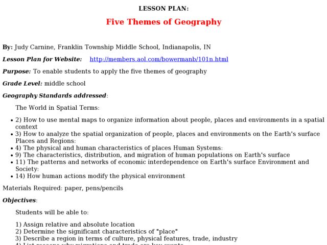 Lesson Plan: Five Themes of Geography Lesson Plan