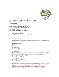 Patterns and Sequences Lesson Plan
