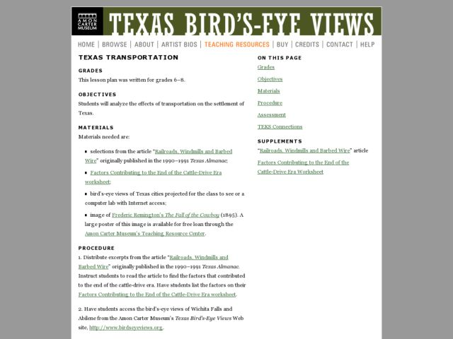 Texas Transportation Lesson Plan