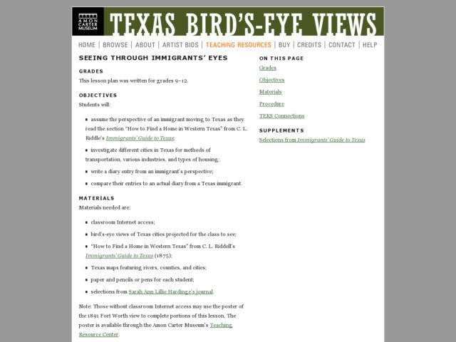 Seeing through Immigrants' Eyes Lesson Plan