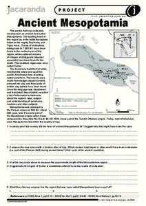 Ancient Mesopotamia Worksheet