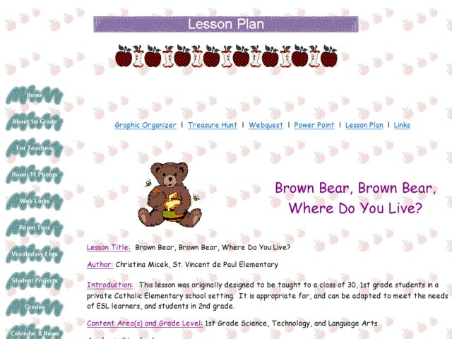 Brown Bear, Brown Bear, Where Do You Live? Lesson Plan