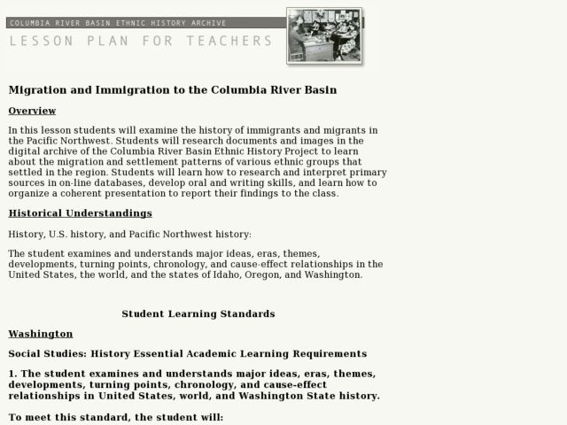 Social Studies: Migration and Immigration to the Columbia River Basin Lesson Plan