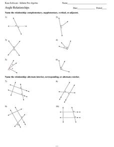 Angle Relationships Worksheet