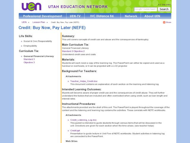 Credit: Buy Now, Pay Later (NEFE) Lesson Plan