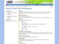Financial Literacy - Income and Deductions Lesson Plan