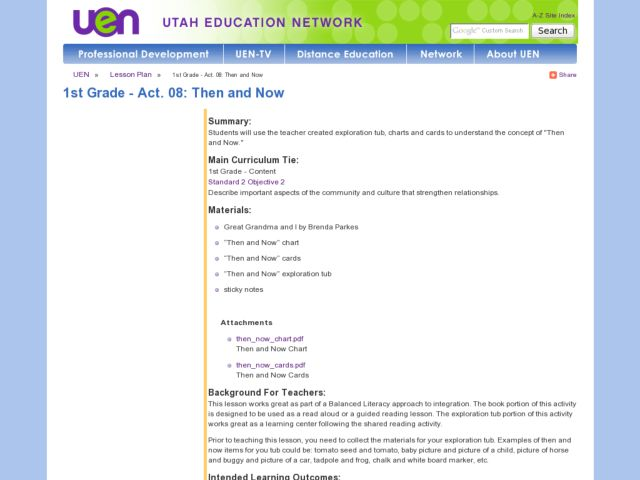 Language Arts: Then and Now Lesson Plan