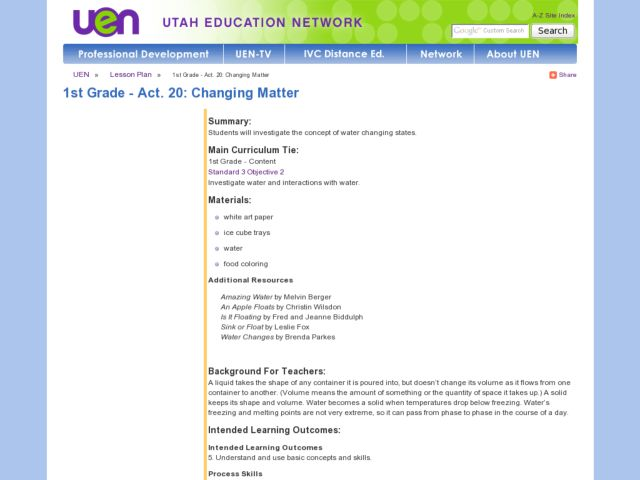 Science: Water States Lesson Plan