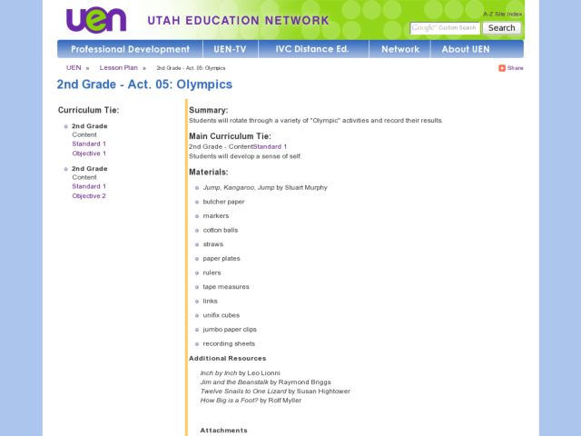 2nd Grade - Act. 05: Olympics Lesson Plan