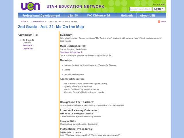 2nd Grade - Act. 21: Me On the Map Lesson Plan