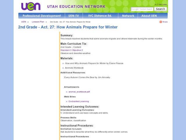 2nd Grade - Act. 27: How Animals Prepare for Winter Lesson Plan