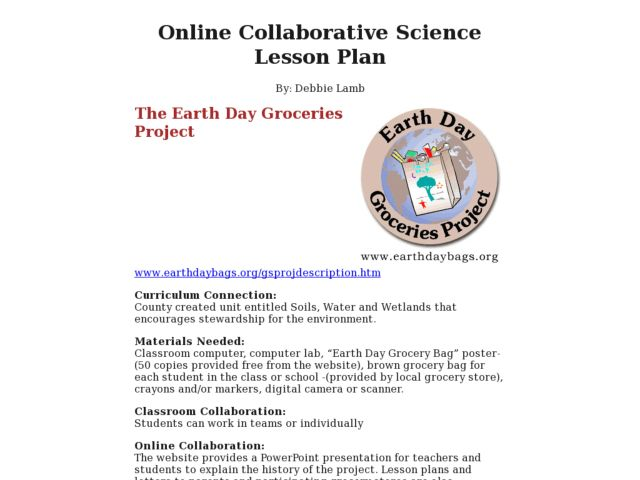 The Earth Day Groceries Project Activities & Project