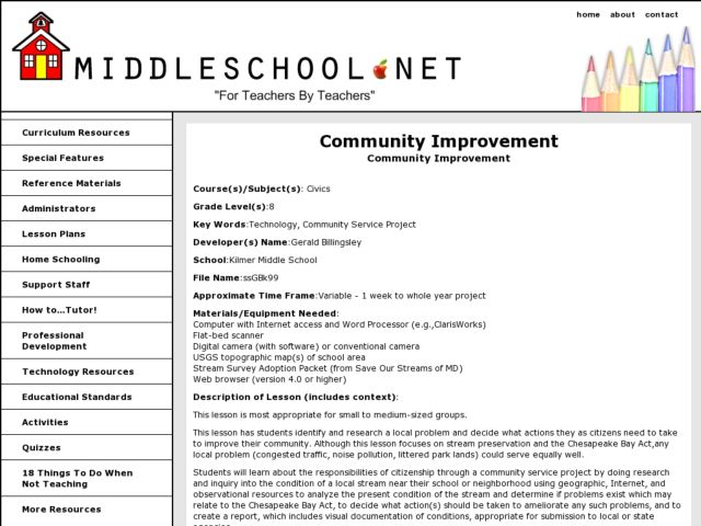 Community Improvement Lesson Plan