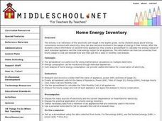 Home Energy Inventory Lesson Plan