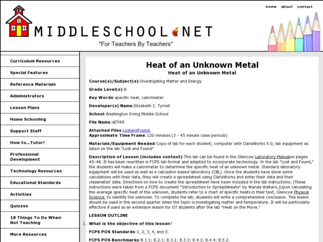 Heat of an Unknown Metal Lesson Plan