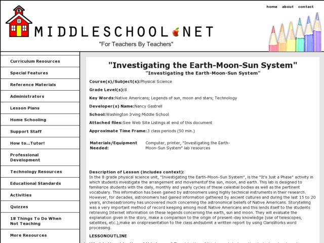 Investigating the Earth-Moon-Sun System Lesson Plan