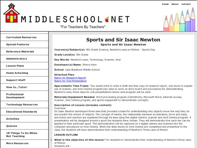 Sports and Sir Isaac Newton Lesson Plan