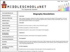 Biography Newsletters Lesson Plan