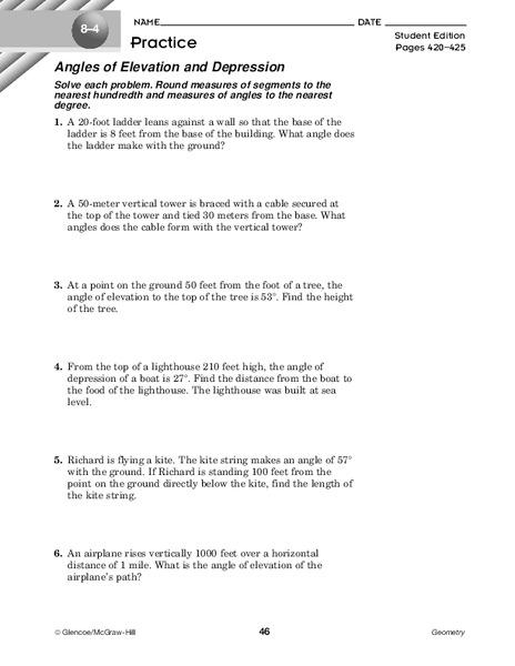 Angle of Depression/elevation Lesson Plans & Worksheets