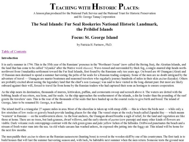 The Seal Islands:  Fur Seal Rookeries National Historic Landmark, the Pribilof Islands Lesson Plan