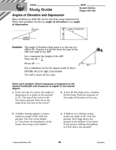 Angles Of Elevation And Depression Worksheet For 10th