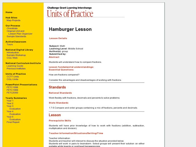 Hamburger Lesson Lesson Plan