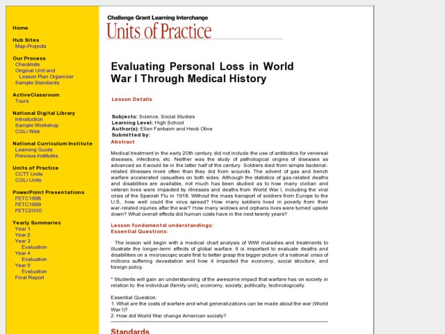 Evaluating Personal Loss in World War I Through Medical History Lesson Plan