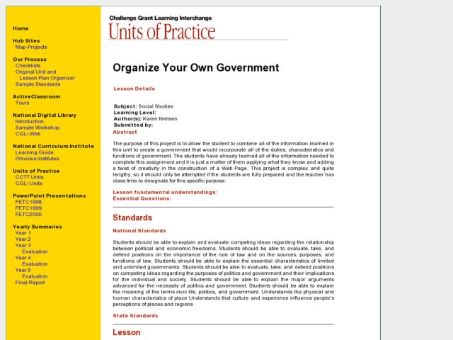 Organize Your Own Government Lesson Plan