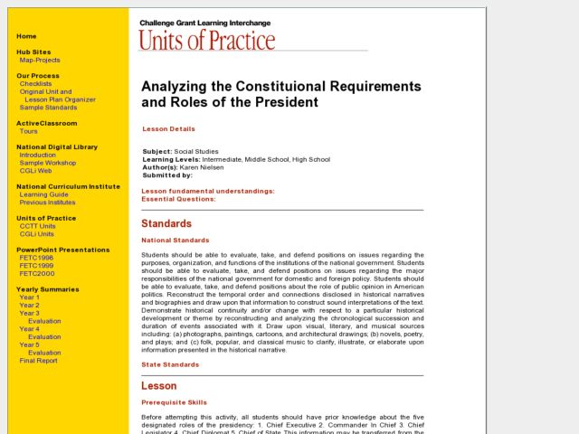 Analyzing the Constitutional Requirements and Roles of the President Lesson Plan