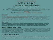 Arts in a Spin Qualities of the Baroque Style Lesson Plan